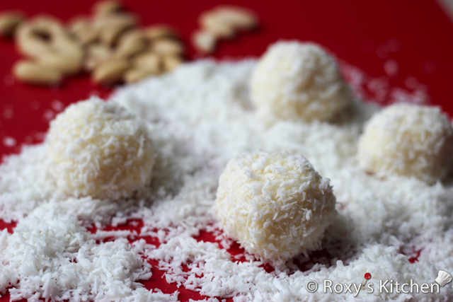 Homemade Raffaello Almond Coconut Candies - Roll each candy in coconut and you're done.
