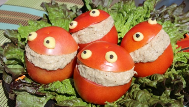 Funny Tomato (Frog) Stuffed With Eggplant Salad