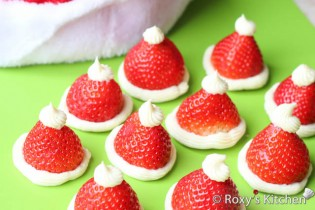 Santa Hats with Strawberries & Cream Cheese