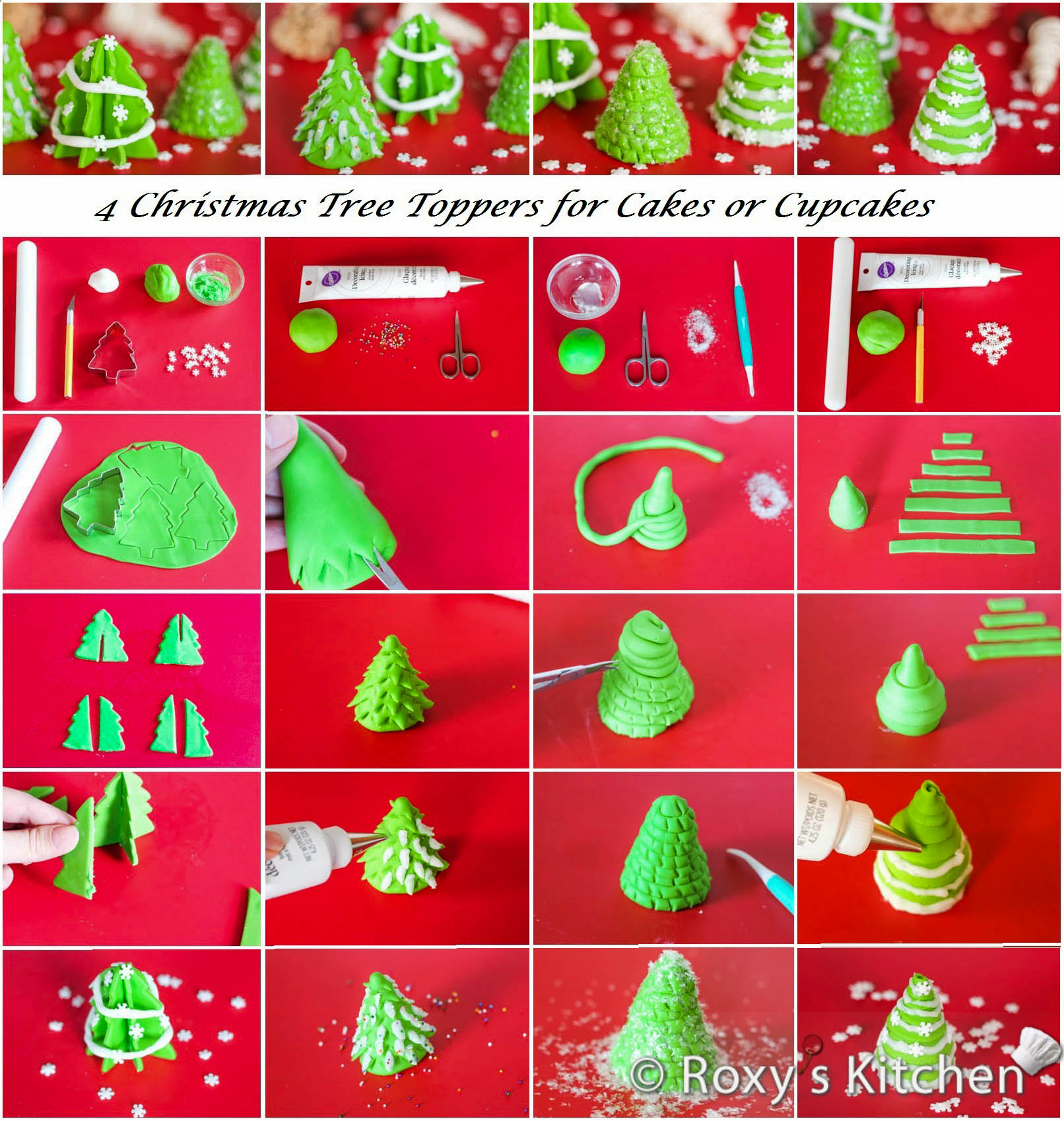 Christmas Tree Toppers For Cakes Or Cupcakes Roxy S Kitchen
