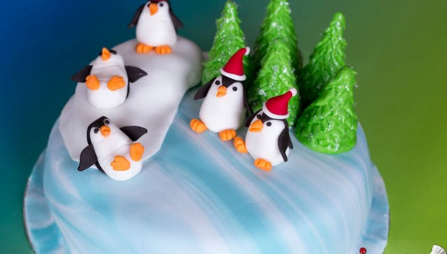 Winter Holidays Cake with Penguins