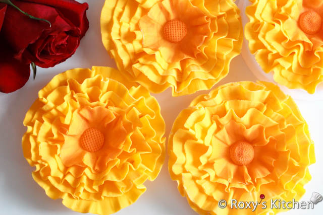 Yellow Fondant Ruffle Flowers