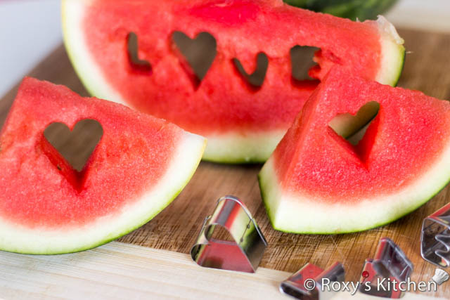 Easy and Creative Ideas for Valentine's Day - watermelon slice with a cut out heart