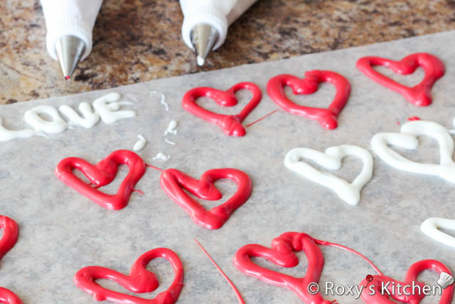 Valentine's Day Dessert - Hearts made out of candy melts