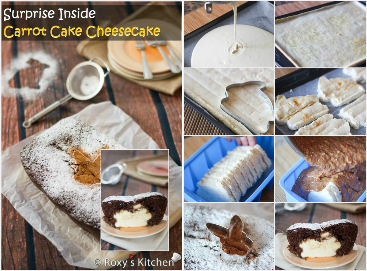 Surprise Bunny Inside Carrot Cake Cheesecake Step By Step Tutorial Roxy S Kitchen