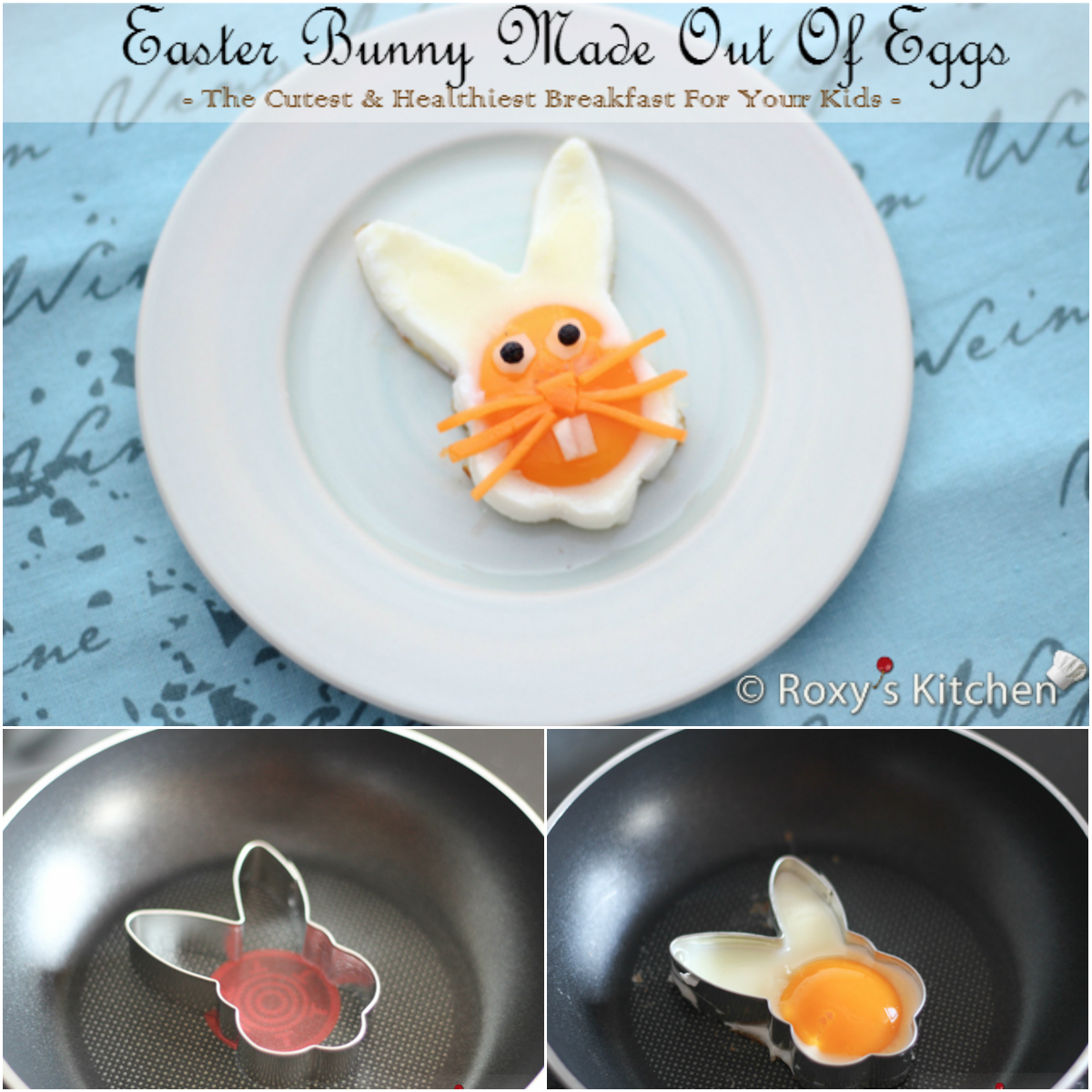 Easter Bunny Face Made Out Of Eggs: Cutest Breakfast for Kids - Roxy's Kitchen #funnyfood #foodart #Easter #breakfast