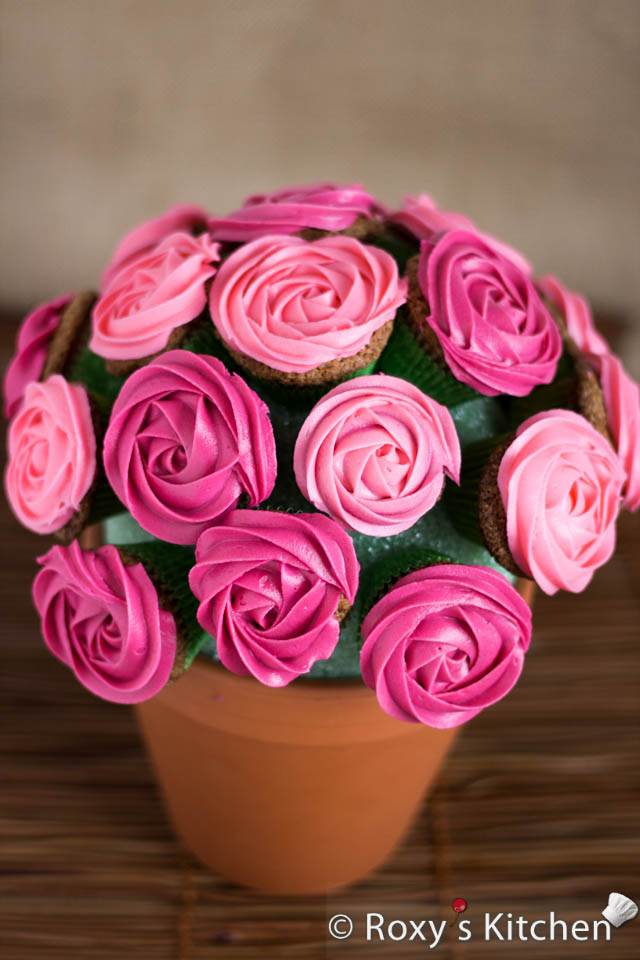 Rose Cupcake Bouquet in a Pot
