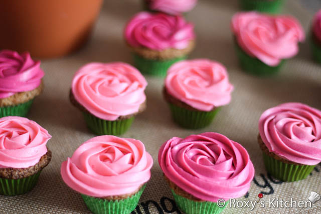Rose Cupcake Bouquet in a Pot - Rose cupcakes