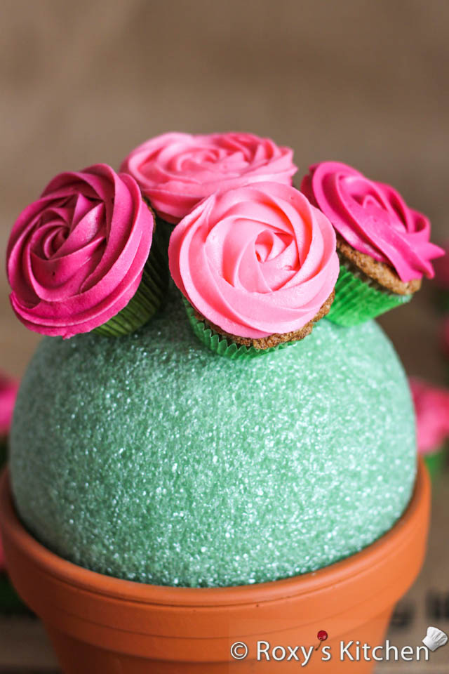 Easy Rose Cupcake Bouquet in a Pot - Roxy\'s Kitchen