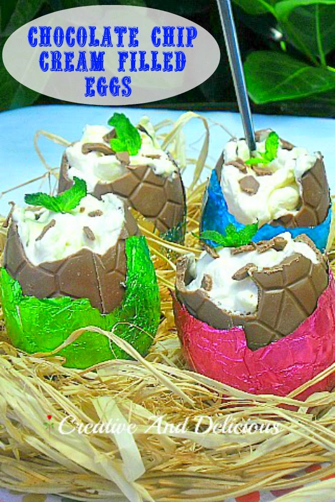 30 of the Best Easter Recipes & DIY Ideas - Roxy's Kitchen - Chocolate Chip Cream Filled Eggs