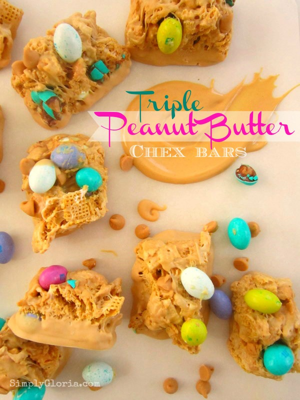 30 of the Best Easter Recipes & DIY Ideas - Roxy's Kitchen - Triple Peanut Butter Chex Bars