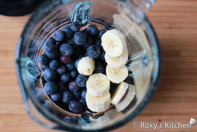 Banana Blueberry Parfait - Add frozen blueberries and half banana in a blender.