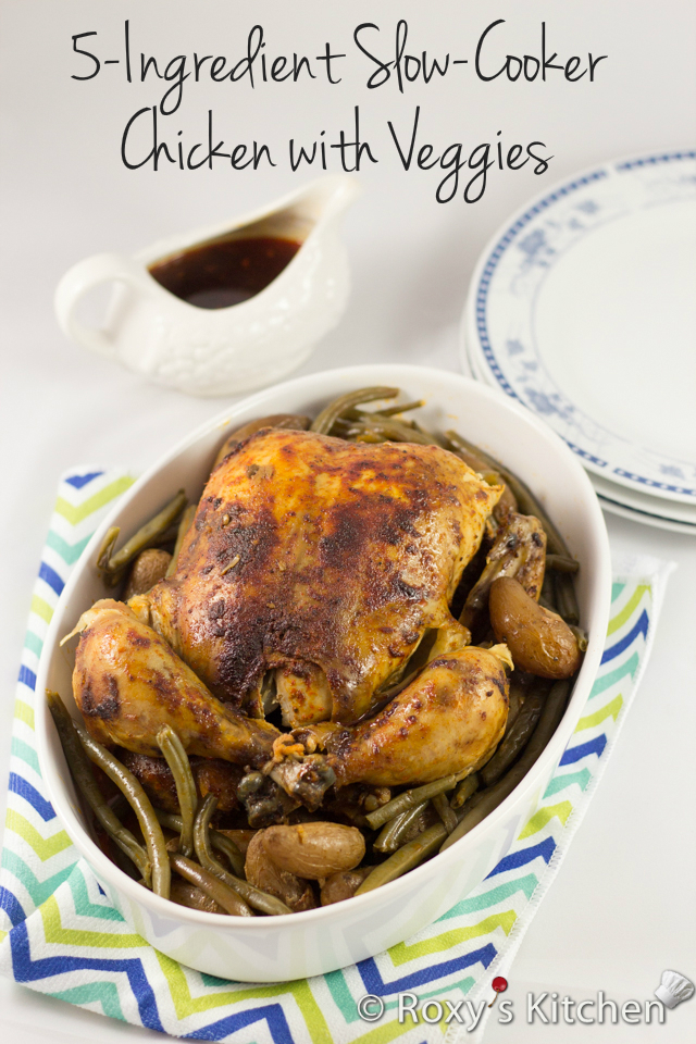 5-Ingredient Slow Cooker Whole Chicken with Veggies | Roxy's Kitchen #fiveingredientsrecipe #5licious #chicken #dinner #crockpot #slowcooker #veggies
