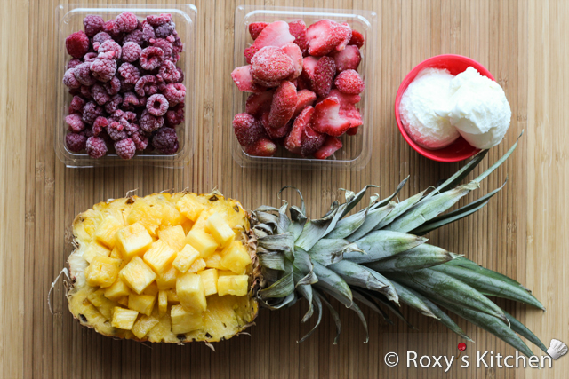 4-Ingredient Creamy Pineapple Berry Smoothie - Ingredients