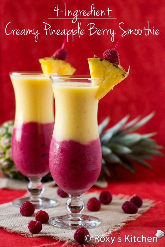 4-Ingredient Creamy Pineapple Berry Smoothie | Roxy's Kitchen - From improving digestion to lowering cholesterol & blood pressure, boosting your immune system and preventing early ageing, tooth decaying & cancer, this smoothie does it all! #recipe #pineapple #strawberries #raspberries #healthy