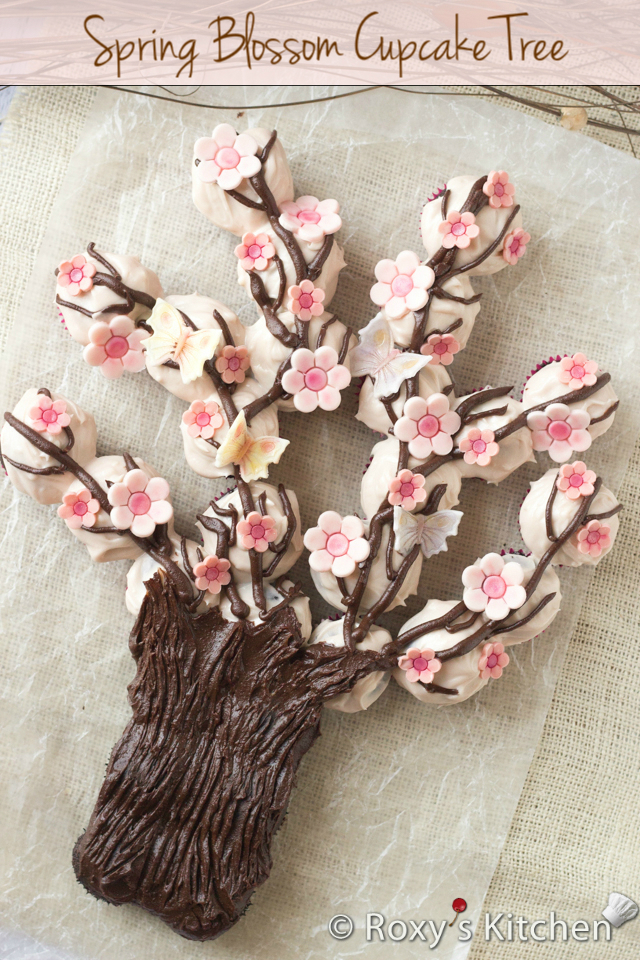 Spring Blossom Tree Made Out of Cupcakes | Roxy's Kitchen #cupcakes #Spring #fondant #dessert #flowers #butterflies #fondant #tree #branches