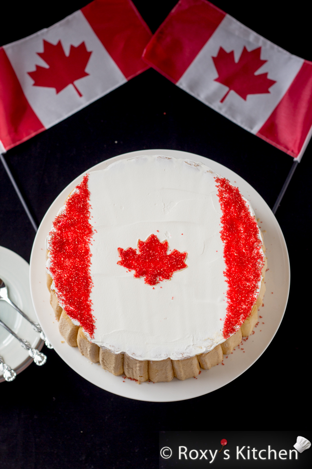 1st of July Dessert - Canadian Flag No Bake Fruit Cake | Roxy's Kitchen  The perfect dessert you can make to celebrate Canada Day and beat the summer heat – it's light, not overly sweet, very refreshing and easy to make! #CanadaDay #NoBakeCake #SummerDessert
