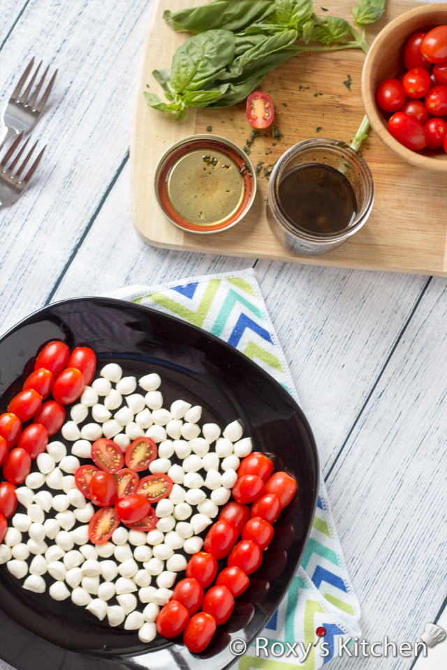 Caprese Salad for Canada Day | Roxy's Kitchen #healthysalad #CanadaDay #red #white #flag