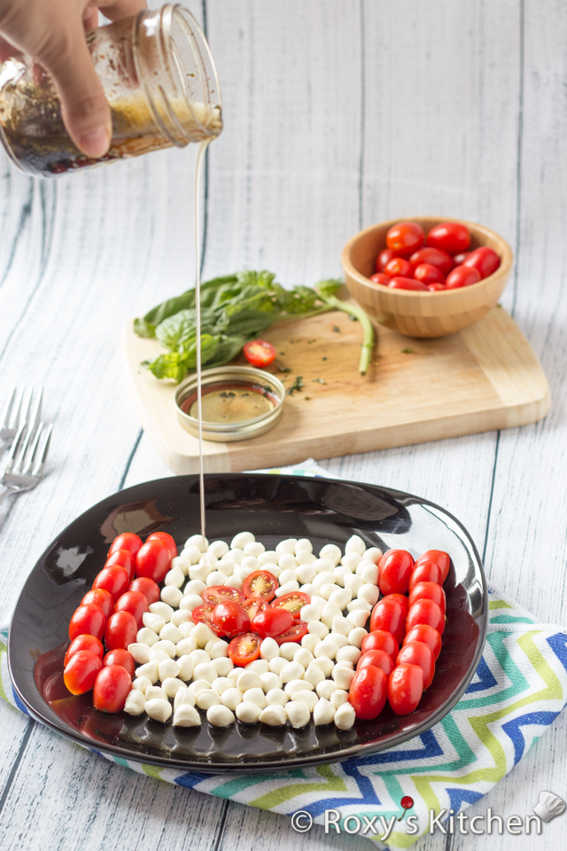 Caprese Salad for Canada Day | Roxy's Kitchen - You only need 10 minutes & 5 ingredients to make one of the simplest and most delicious salads!  #healthysalad #CanadaDay #red #white #flag