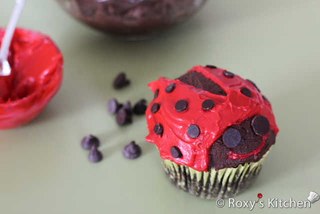 Ladybug Cupcakes - Place a few small chocolate chips on each wing. Attach two big chocolate chips for the eyes.   To make the mouth, use a toothpick to carefully add some red frosting.