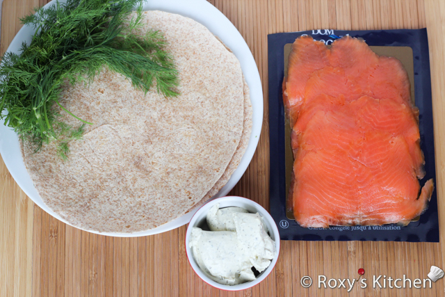 Salmon Cream Cheese Tortilla Roll-Ups - Ingredients
