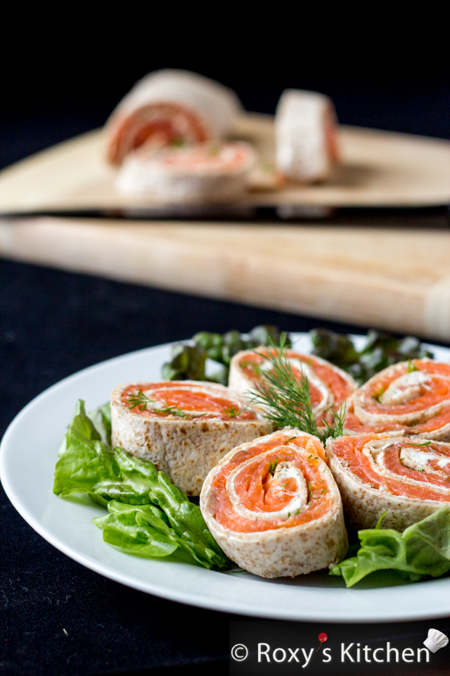 Smoked Salmon Cream Cheese Tortilla Roll-Ups | Roxy's Kitchen # ...