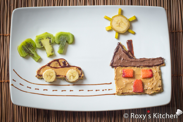 Wordless Wednesdays - Road Trip to Great Grandma's House | Roxy's Kitchen #foodart #toast #peanutbutter #nutella #banana #kiwi #car #house