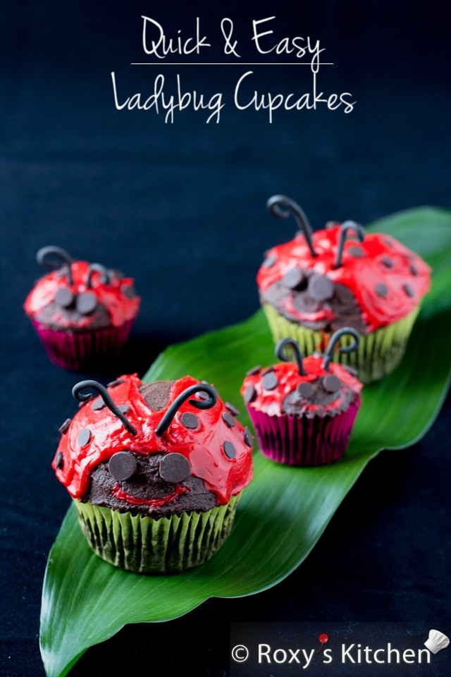 Quick and Easy Ladybug Cupcakes | Roxy's Kitchen #ladybugs #cupcakes #spring #tutorial