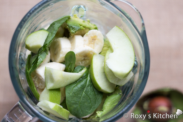 Creamy Banana Green Smoothie - Blend yogurt, avocado, banana, spinach and apple until smooth, pulsing as needed.  You might need to scrape down the sides of the blender a few times.