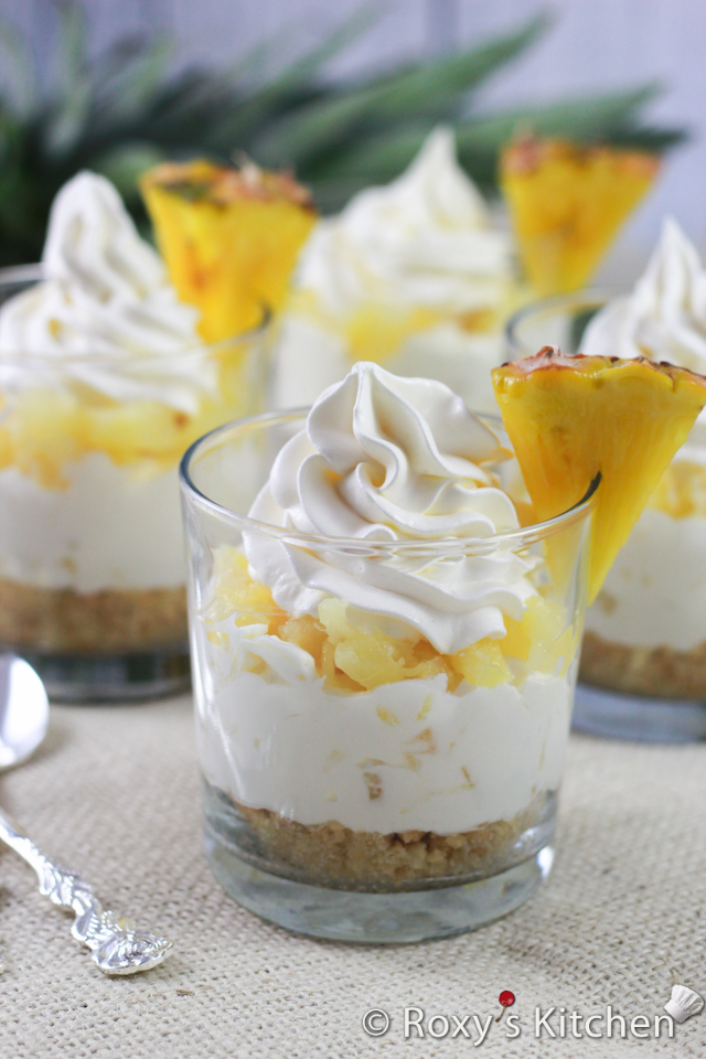 5-Ingredient No-Bake Pineapple Cheesecakes in a Cup | Roxy's Kitchen #nobakedessert #partydesserts #pineapple #creamcheese #whippedcream #summer