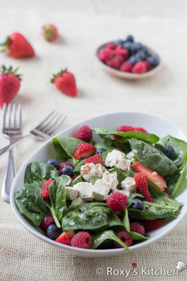 5-Ingredient Spinach Salad with Berries & Feta Cheese | Roxy's Kitchen - This salad has it all: fiber, protein, iron, calcium, so many vitamins and it's packed with antioxidants for a youthful skin.