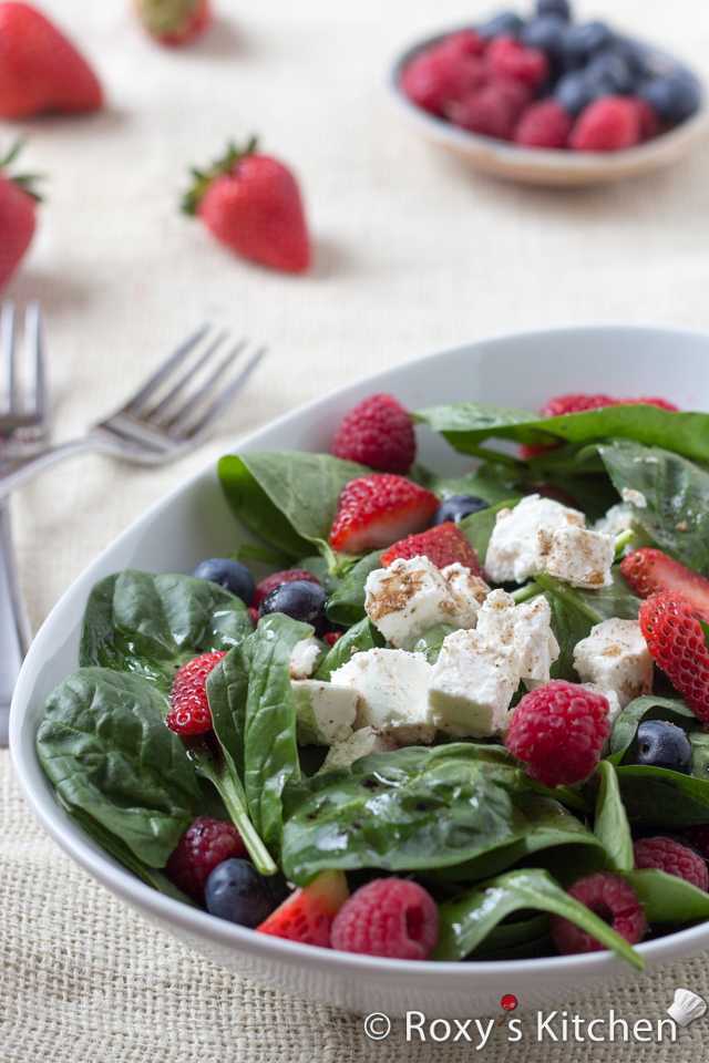 5-Ingredient Spinach Salad with Berries & Feta Cheese | Roxy's Kitchen - This salad has it all: fiber, protein, iron, calcium, so many vitamins and