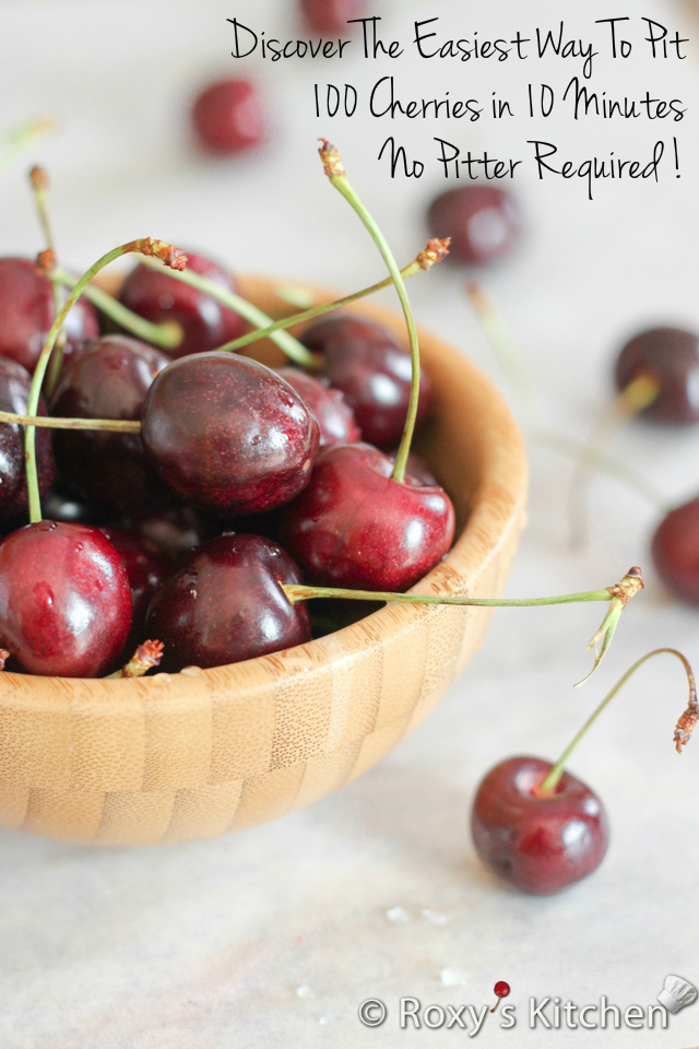 Discover The Easiest Way To Pit 100 Cherries in 10 Minutes - No Pitter Required! Can you guess how it's done?| Roxy's Kitchen