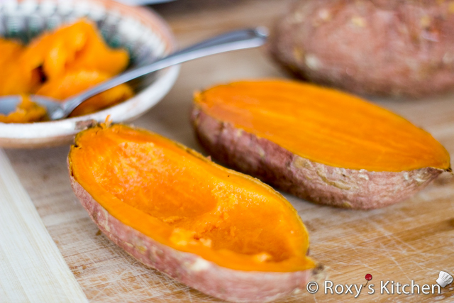 Breakfast Egg Stuffed Sweet Potatoes - Cut of each baked potatoand scoop out some of the flesh