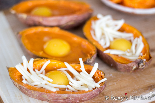 Breakfast Egg Stuffed Sweet Potatoes - Break an egg into each potato half, sprinkle some salt and pepper and top with mozzarella cheese.