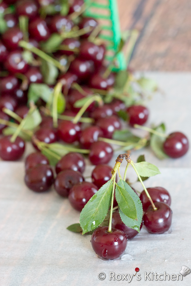 Homemade Sour Cherry Liqueur - Rinse the sour cherries and pick off any stems and leaves.