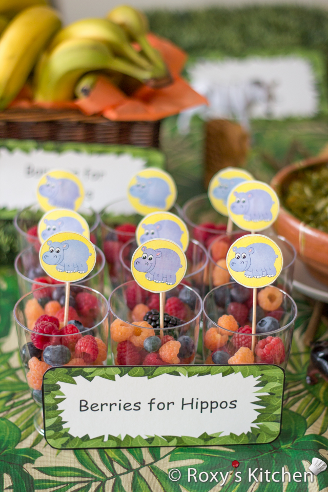 Safari / Jungle Themed First Birthday Party - Dessert Ideas: Berries for Hippos