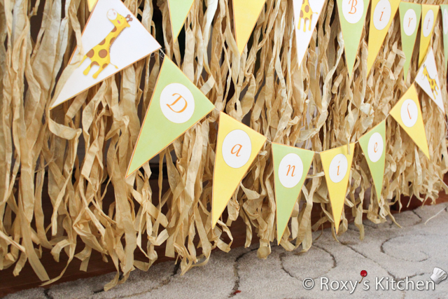 Safari Jungle Themed First Birthday Party - 'Daniel' Pennant Banner