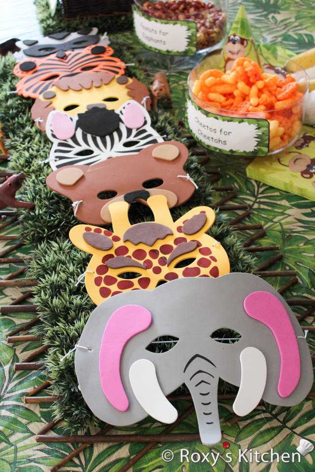 Safari / Jungle Themed First Birthday Party Part - Cheap Party Supplies & Decorations - Foam Animal Masks
