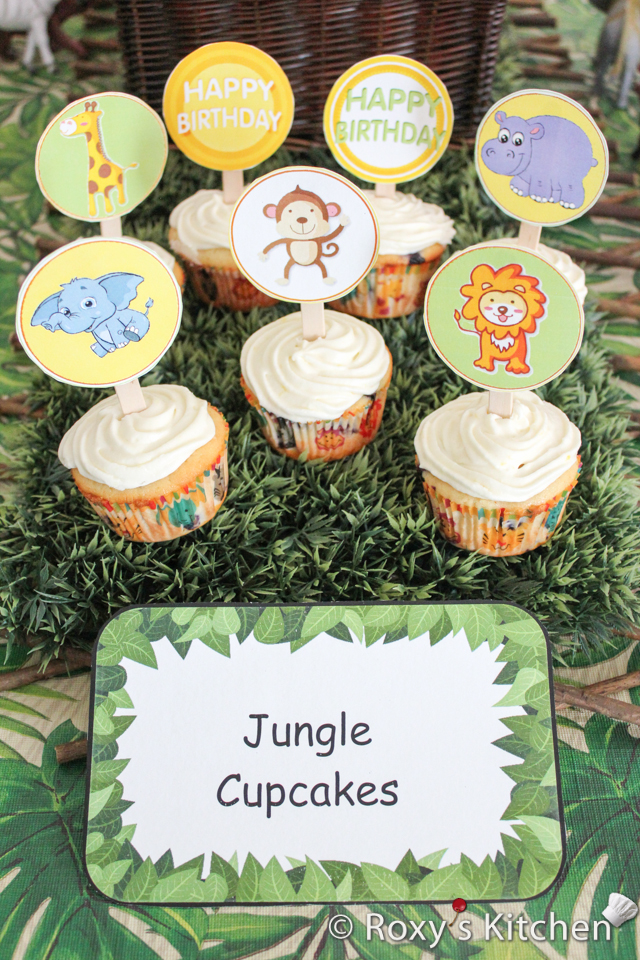 Safari / Jungle Themed First Birthday Party - Dessert Ideas: Cupcakes with FREE Printable Animals Cupcake Toppers - lion, monkey, elephant, giraffe, hippo