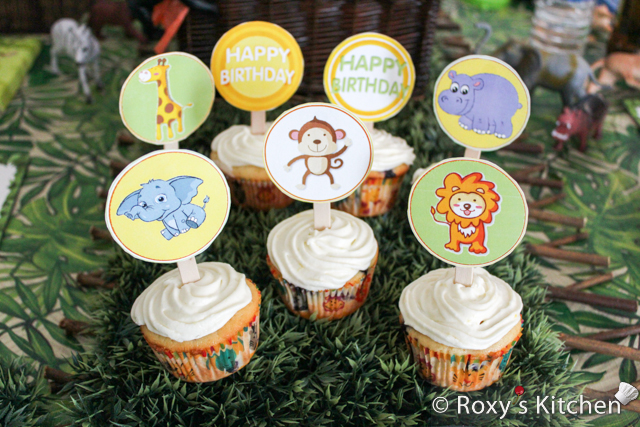 Safari Jungle Themed First Birthday Party - Jungle Animals Cupcake Topper FREE Printables - lion, elephant, giraffe, monkey, hippo