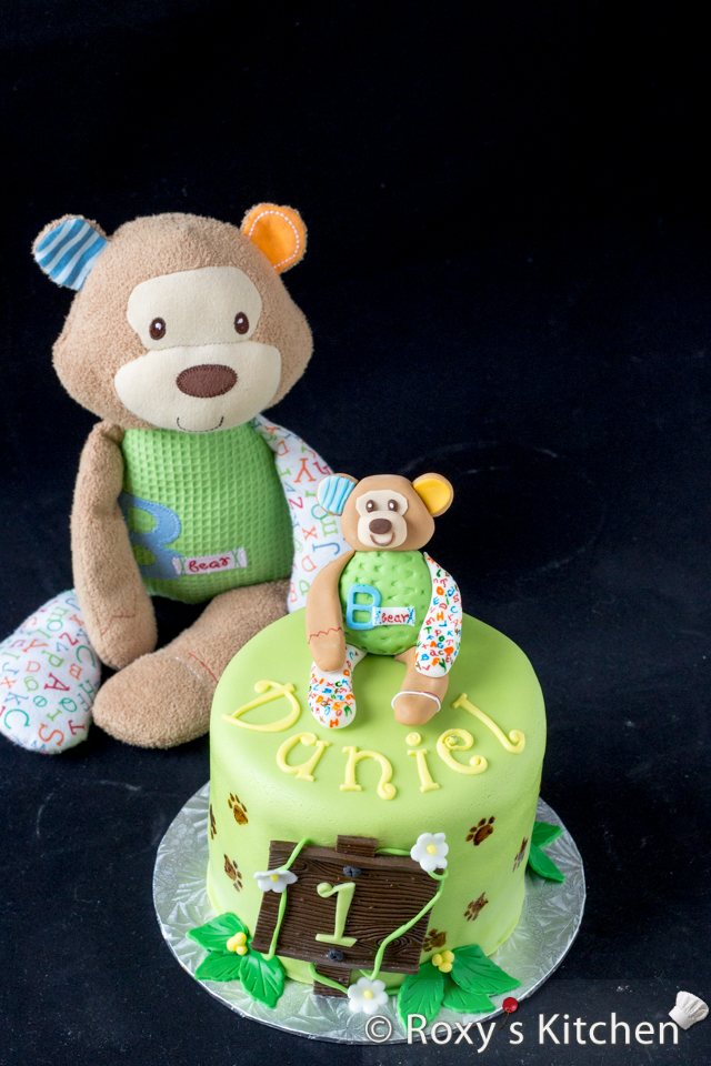 Safari / Jungle Themed First Birthday Party - Dessert Ideas: Jungle First Birthday Smash Cake with teddy bear fondant topper