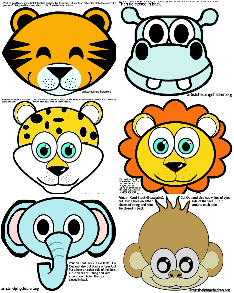 Safari / Jungle Themed First Birthday Party Part - Cheap Party Supplies & Decorations - Animals Party Masks FREE Printable