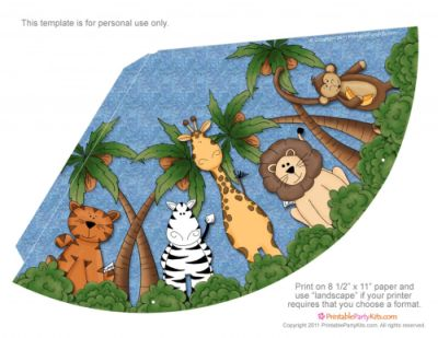 Safari / Jungle Themed First Birthday Party Part - Cheap Party Supplies & Decorations - Party Hat Free Printable