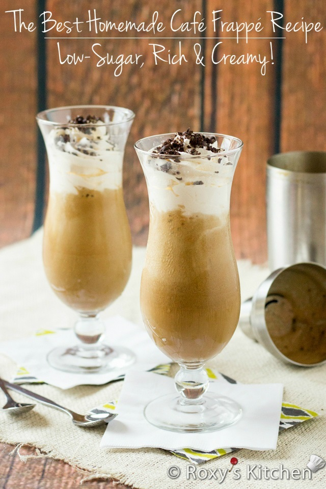 The Best Homemade Café Frappé Recipe – Low-Sugar, Rich & Creamy! | Roxy's Kitchen With five minutes and five ingredients you can make your own! #summer #drinks #icedcoffee #lowsugar