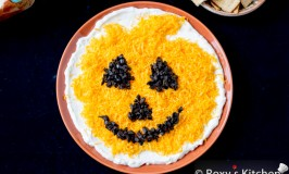 5-Ingredient, 5-Minute Halloween Recipe - Jack O' Lantern Olive Cheese Dip