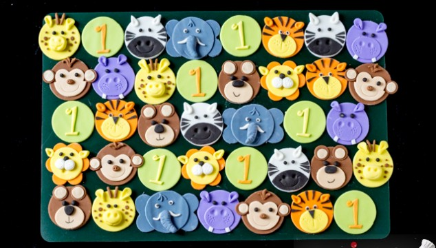 Tutorial with Step by Step Photos - How To Make Safari / Jungle Animals Cupcake Toppers – Tiger, Zebra, Giraffe, Elephant, Monkey, Hippo, Bear, Lion