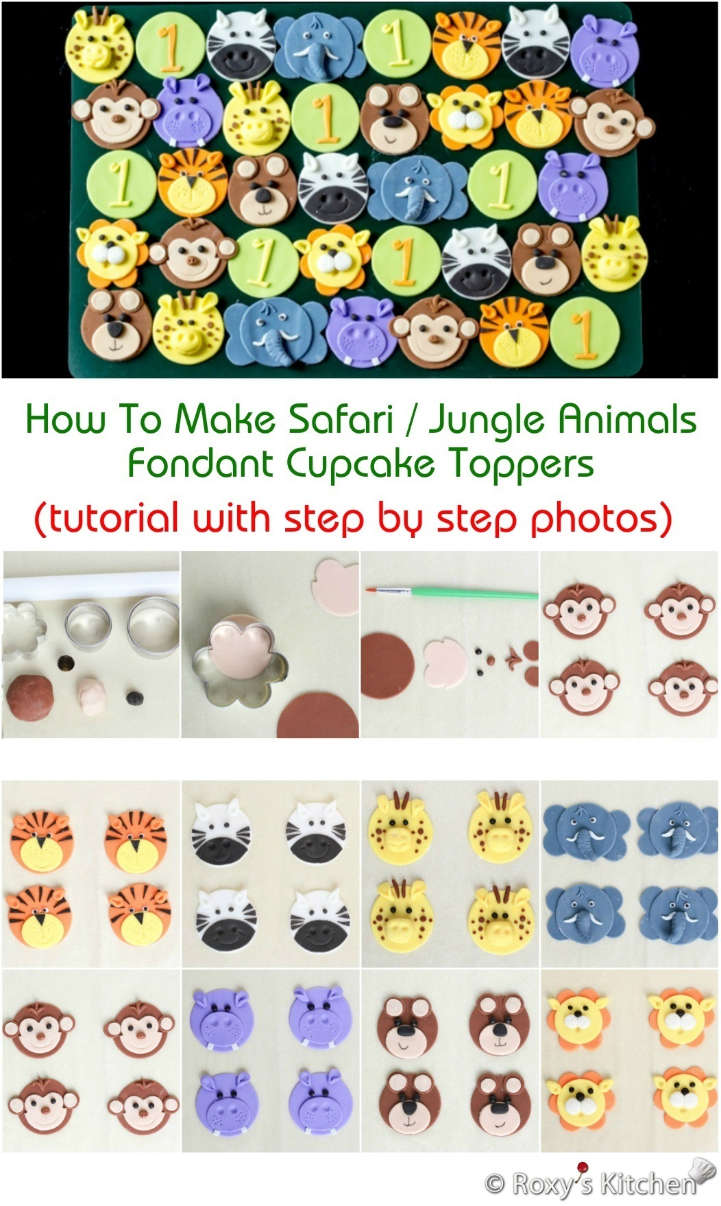 How To Make Safari Jungle Animals Fondant Cupcake