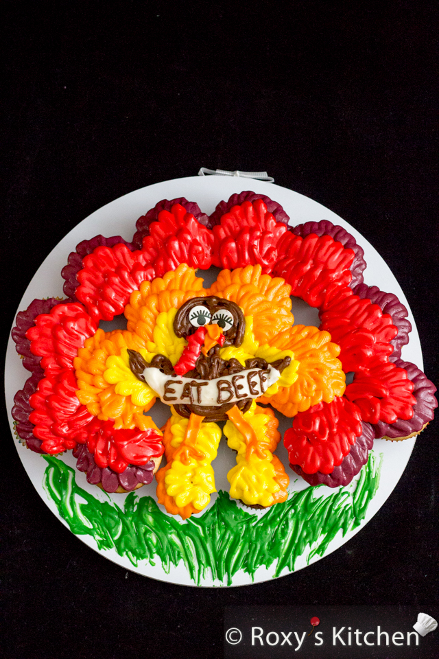 Thanksgiving Turkey Cupcake Cake - Tutorial with Step by Step Photos | Roxy's Kitchen