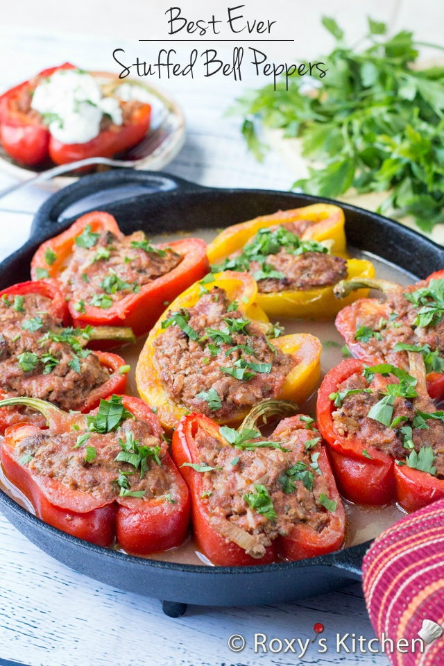 Easy Stuffed Peppers - Definitely one of my mom's best recipes! | Roxy's Kitchen